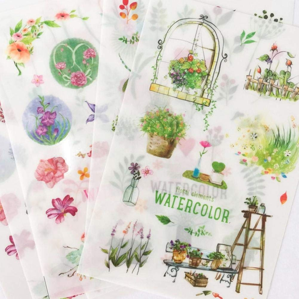 6 Sheets/pack Floral Element Decoration Stickers Scrapbooks Stick Label Journal Diary Stationery Stickers