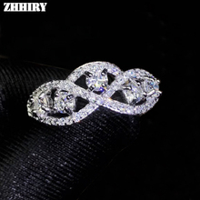 цена ZHHIRY Genuine Moissanite 925 Sterling Silver Ring For Women Rings 0.1ct 3mm D VVS1 Round Cut With Certificate Fine Jewelry онлайн в 2017 году