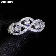 ZHHIRY moissanita auténtica Plata de Ley 925 anillo de plata para las mujeres anillos 0.1ct 3mm D VVS1 corte redondo con certificado de joyería fina