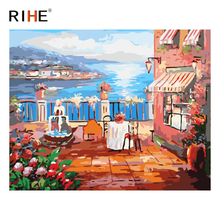 RIHE Bay Town Diy Painting By Numbers Abstract Terrace Oil On Canvas Cuadros Decoracion Acrylic Wall Picture For Room