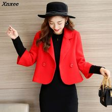 Three Quarter Sleeve Women Woolen Coat Short Women's Jacket Fashion Cashmere Coat and Jacket Xnxee patchwork women woolen coat slim women s jacket fur collar cashmere coat and jacket xnxee