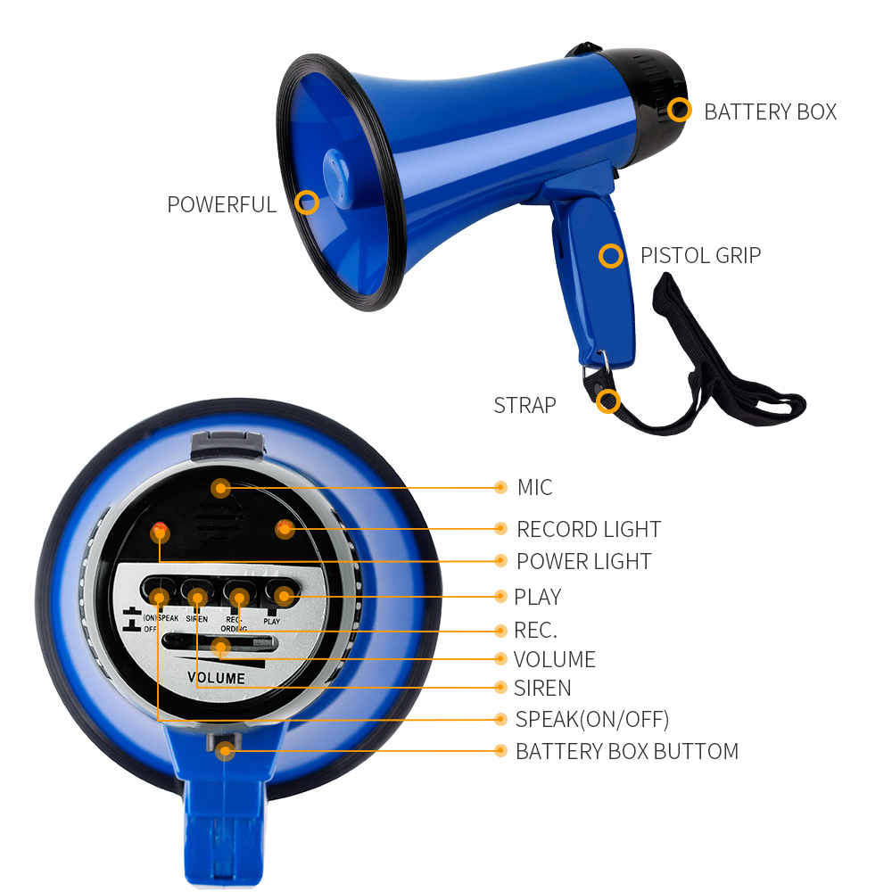 Portable Speaker 20 Watt Power Megaphone Speaker Bullhorn Voice And Siren/Alarm Modes Megaphone Record Play