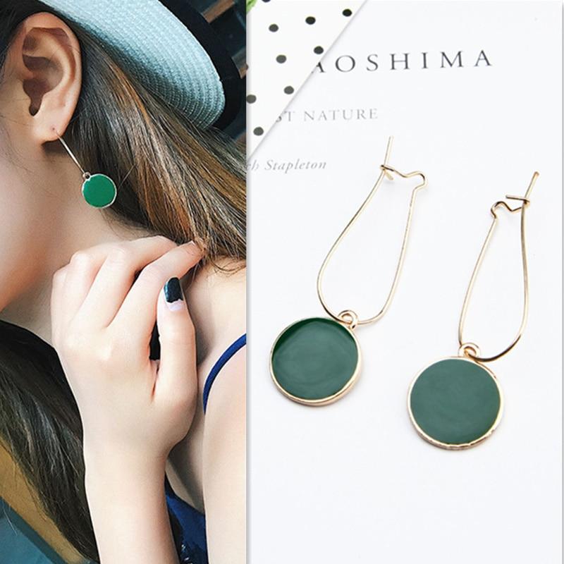 2018 NEW Vintage Women Green Circle Ear Pendant Long cute drop Earrings Boucle D'oreille Femme Girl Party dangle fashion jewelry