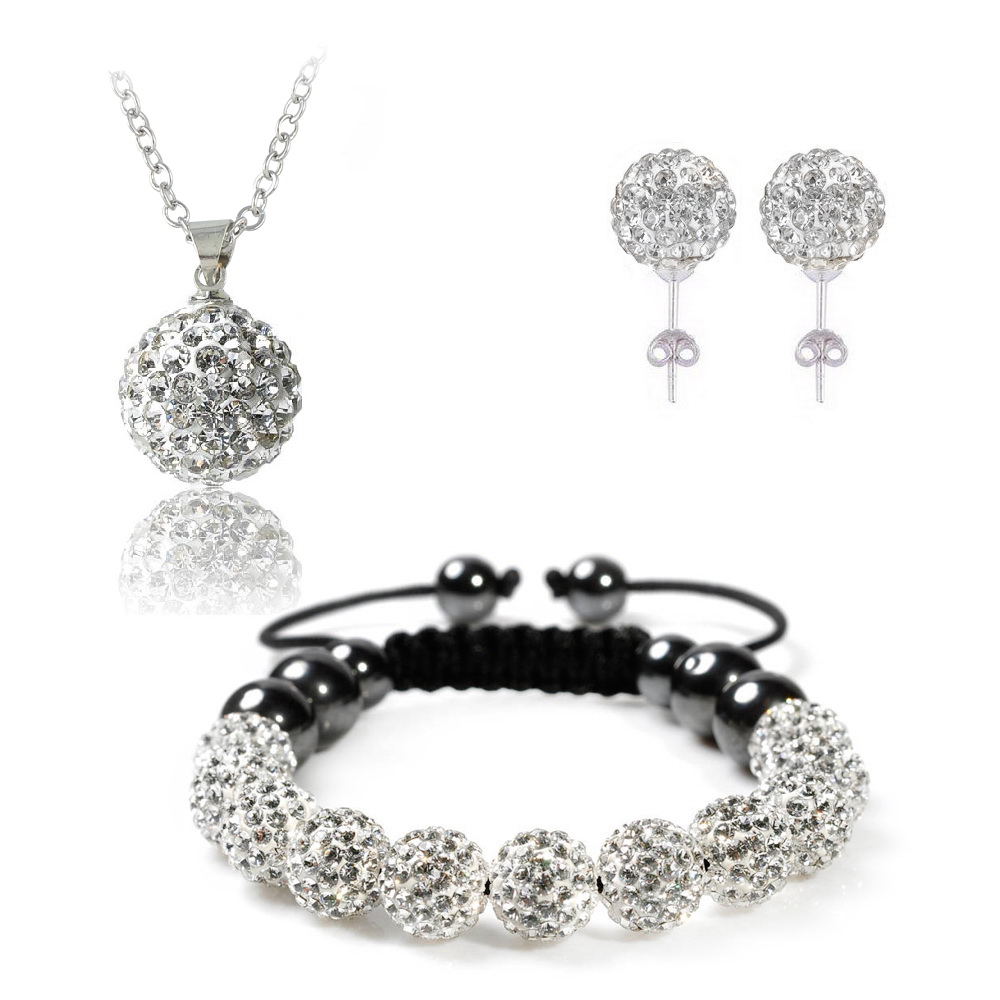 Fashion Clay Set For Women Pendant Bracelet Earring Jewelry Set With Disco Balls Wedding Jewelry Sets bijoux JST0001mix1