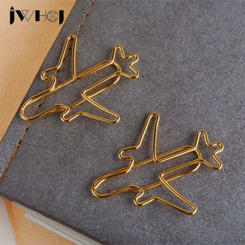 10 Pcs/lot Golden Plane Shape Paper Clip Material Escolar Bookmarks For Books Stationery School Supplies Papelaria Child Gift