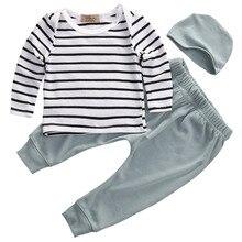 3pcs/set Cotton Long Sleeve Striped T-shirt+Pants +Hat