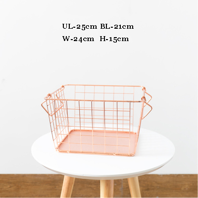 1pc of S size 25cm Rose Gold Iron Storage Basket Metal Cloak Basket Reception Basket for clothes Bourcery Nordic Home style