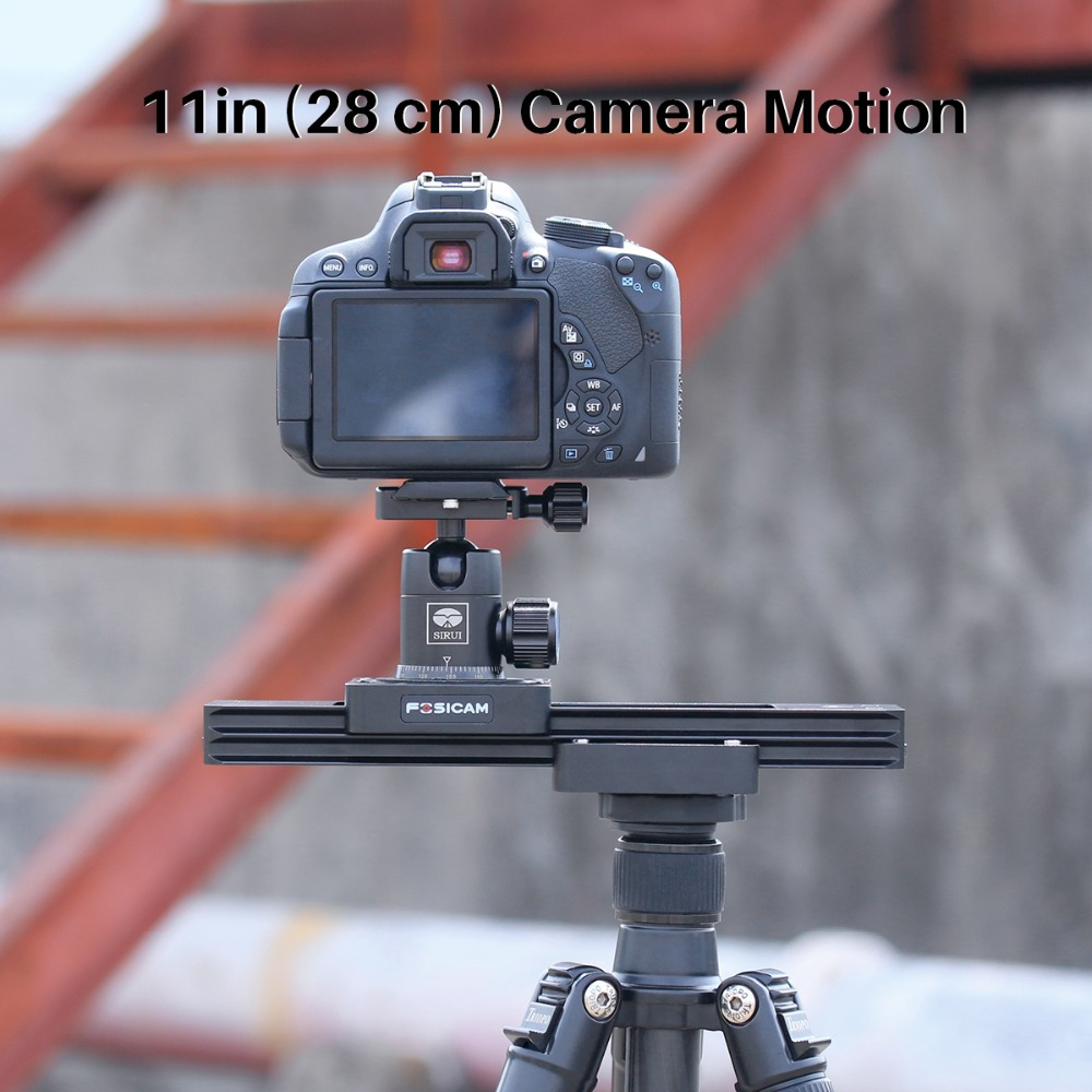 FOSICAM 11in 28cm Camera Slider Aluminum Alloy Video Track Slider, Two-way Taxiing Hydraulic Damping for iPhone Canon Nikon DSLR kk 61 фигурка кот золотой шамот