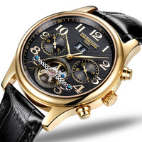 CARNIVAL Luxury Business Automatic watch High end Tourbillon Mechanical watch with Month,Week,Calendar display Skeleton watch