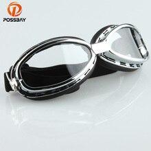 POSSBAY Motorcycle Goggles Clear Lens Ski Goggles Retro Pilo