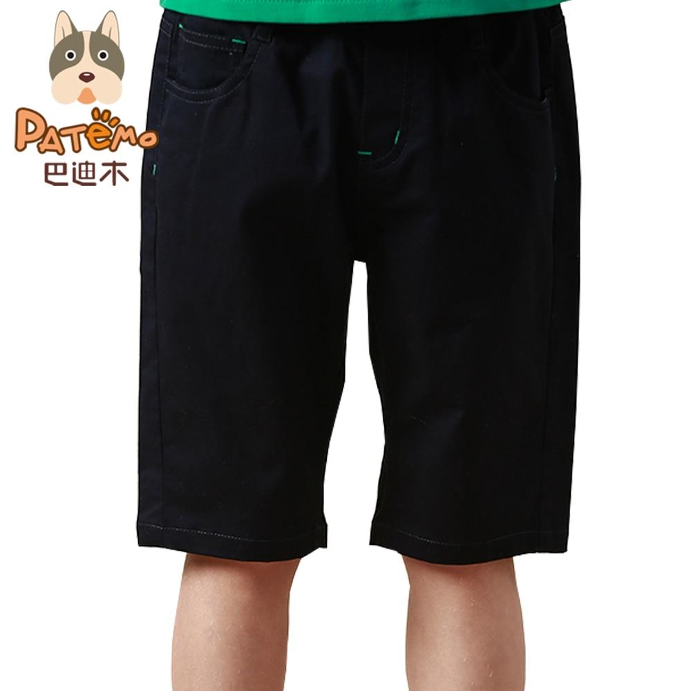 PATEMO Boys Shorts Summer Kids Cotton Short Pants Navy Blue Knee Length Elastic Waist Teenager Baby