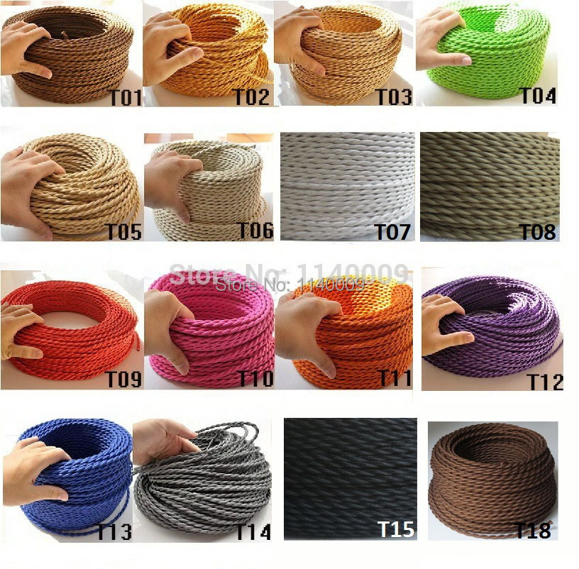 2m 3m 5m 10m 2 Core <font><b>0.75</b></font> Vintage Twisted <font><b>Cable</b></font> Retro Braided Electrical Wire Fabric Lamp Cord image