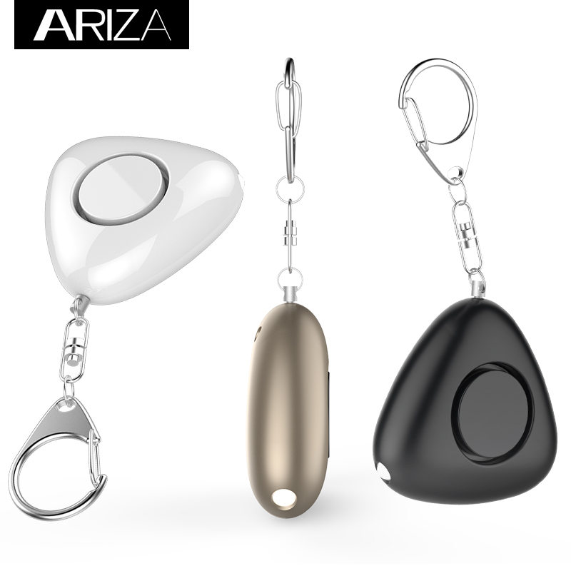 Ariza self defense key chain alarm with LED Flashlight Support OEM logo and gift box  packaging self defense aluminum alloy outdoor save first aid drug medicine kit small gallipot cartridge key chain fc