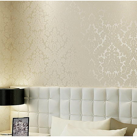 2016 new bestselling non-woven wallpaper elegant atmosphere of rice white european-style bedroom living room full shop TV wall new fine fabric texture wall of setting of the bedroom a study wallpaper of europe type style yulan wallpaper fashion pavilion