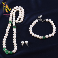 NYMPH Pearl Jewelry Set with box 8 9mm Natural Fresh Water Necklace/Earrings/Bracelet Party For Women T227