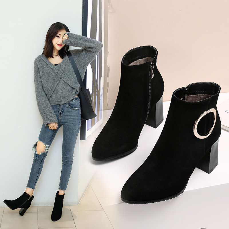 Thick with sheepskin booties feet thin daily versatile models exquisite plated metal inside metal zipperThick with sheepskin booties feet thin daily versatile models exquisite plated metal inside metal zipper