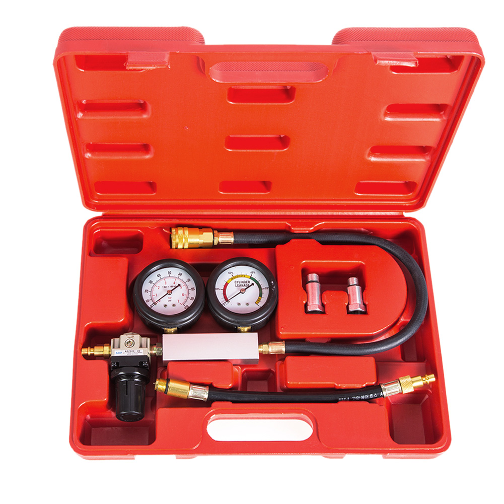 Cylinder Leak Tester 0-100PSI Universal Double Gauge System Scale Compression Leakage Detector Petrol Engine Gauge Tool KitCylinder Leak Tester 0-100PSI Universal Double Gauge System Scale Compression Leakage Detector Petrol Engine Gauge Tool Kit