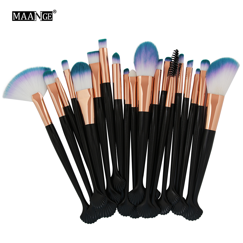 цена 20pcs Pro Makeup Brushes Set Powder Blush Foundation Lip Eyebrow Eyeshadow Eyeliner Fan Contour Concealer Shell Brush Tools kit