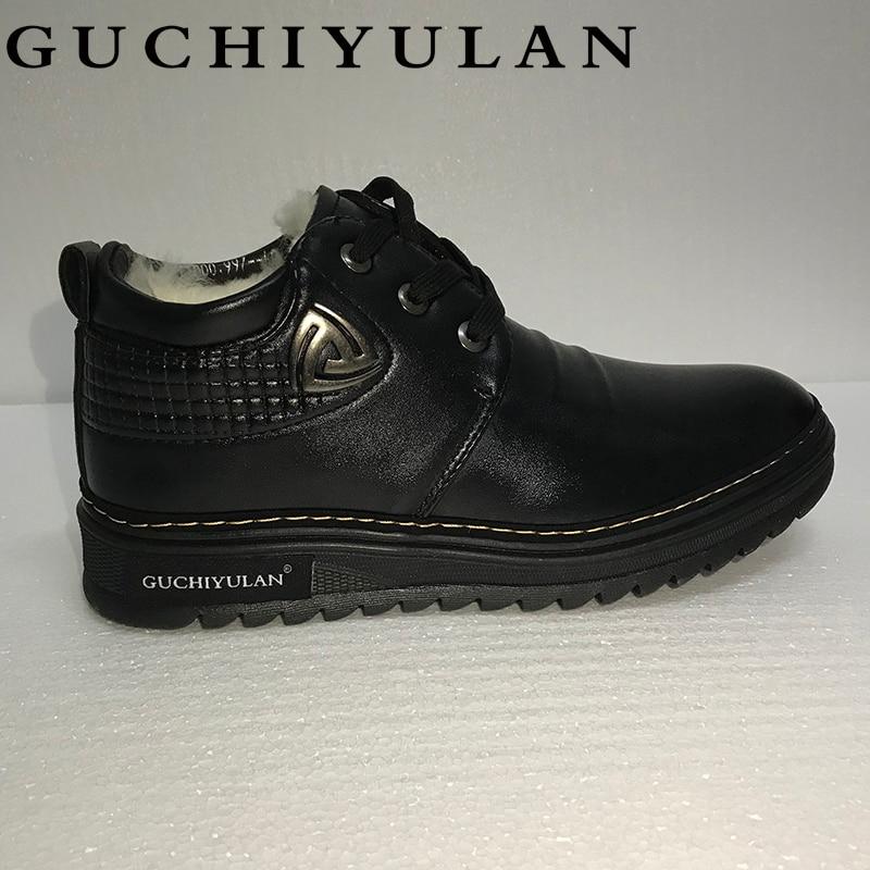 GUCHIYULAN Brand New Genuine Leather Men Boots Fashion Cow Leather Men Shoes Solid Black Warm Plush Men Winter Shoes
