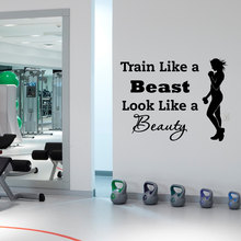 Sports Wall Decal Quotes Train Like A Beast Look Like A Beauty Vinyl Stickers Gym Fitness Grils Health Sports Wall Mural YO-31