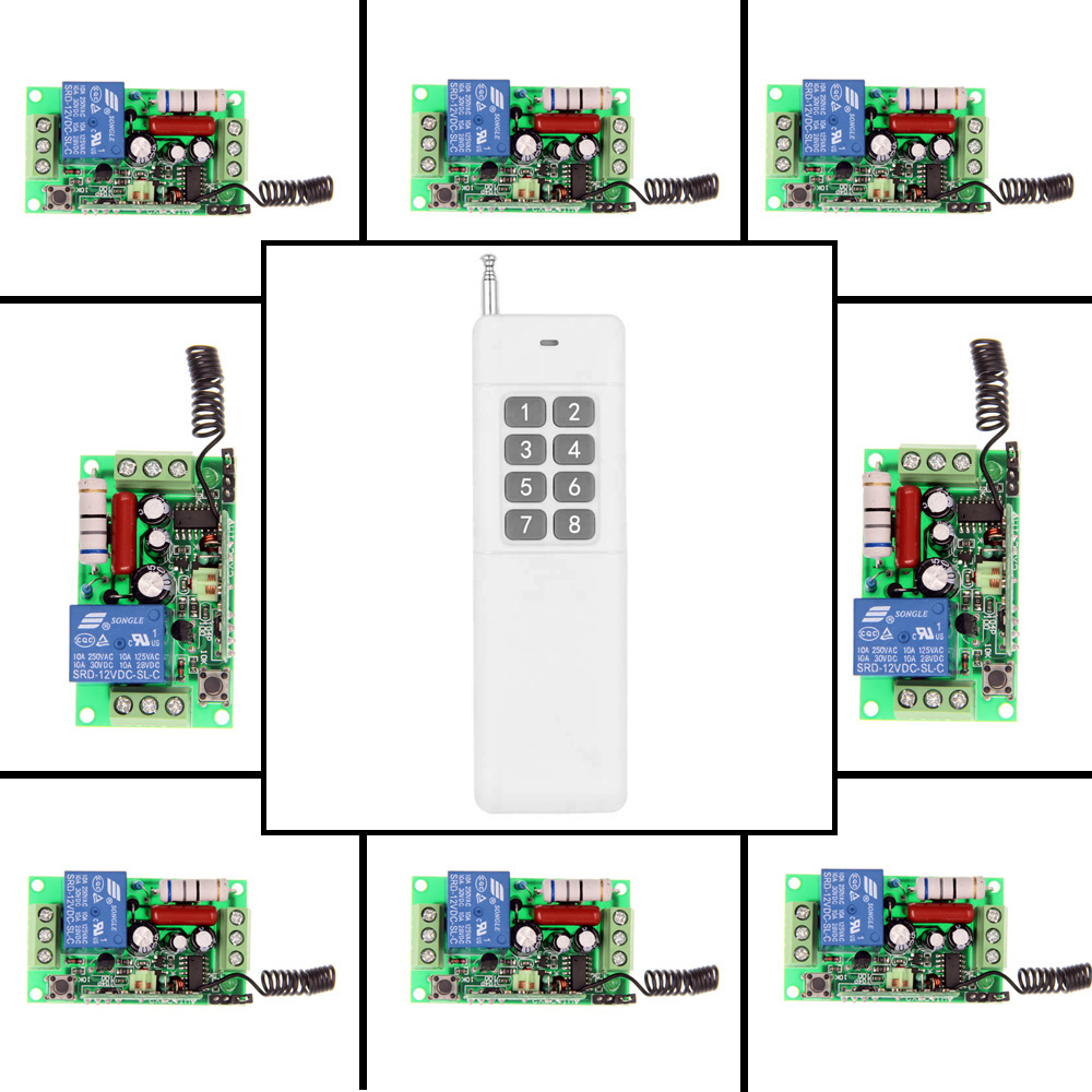 3000m AC 220V 110V 1 CH 1CH RF Wireless Remote Control Switch System,8CH Transmitter + 8 X Receiver,Toggle Momentary,315/433.92 new ac 220v 30a relay 1 ch rf wireless remote control switch system toggle momentary latched 315 433mhz