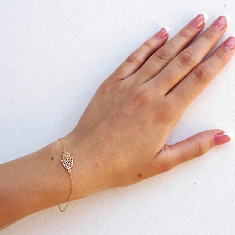 2019 nowy prosty złoty łańcuch Hamsa bransoletka dla kobiet Fatima bransoletka na rękę femme pulseras mujer Bijoux biżuteria