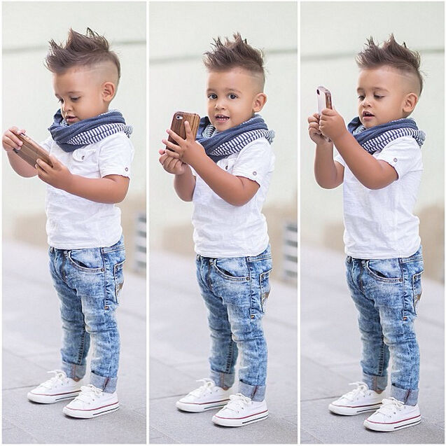 6a8f59522 Hot Baby Boy Summer Outfits Cute Kids White T shirt Toddler Simple ...