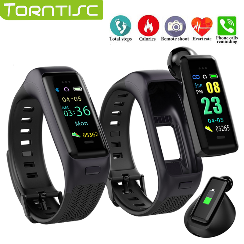 TORNTISC B03 Fitness Bracelet Sports Bluetooth earphone With Mic steps Distance calorie Activity tracker Heart rate