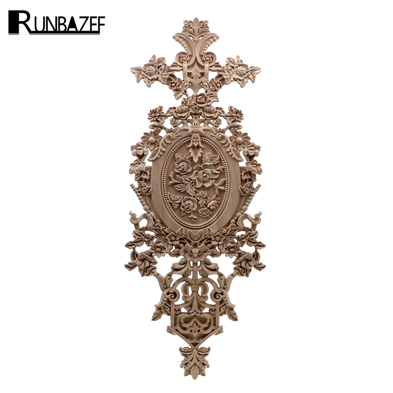 RUNBAZEF Vintage Home Decor Floral Carved Wood Corner Applique Wall Door Cabinet Furniture Decorative Figurines for