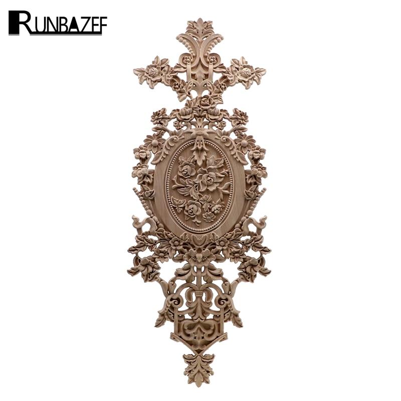 RUNBAZEF Vintage decoración del hogar flores talladas Esquina de madera aplique puerta de pared armario muebles figuras decorativas para miniatura-in Figuras y miniaturas from Hogar y Mascotas    1