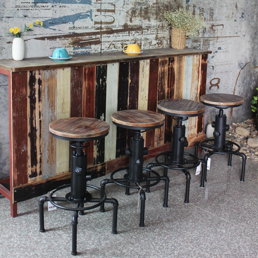 Industrial Style Steel Pipe Pine Wood Tables Desks A: IKayaa Metal Industrial Bar Stool Height Adjustable Swivel