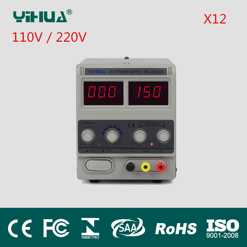 Freeshipping Yihua-1502D Adjustable DC Power Supply 15V 2A Power supply 110V/220V/230V/240V 12pcs/Lot yh 1502dd 15v 2a adjustable variable dc power supply