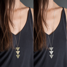 Fashion Geometric Multilayer Pendant Necklace Long Chain Women choker charm Summer Beach Jewelry Accessories Gift
