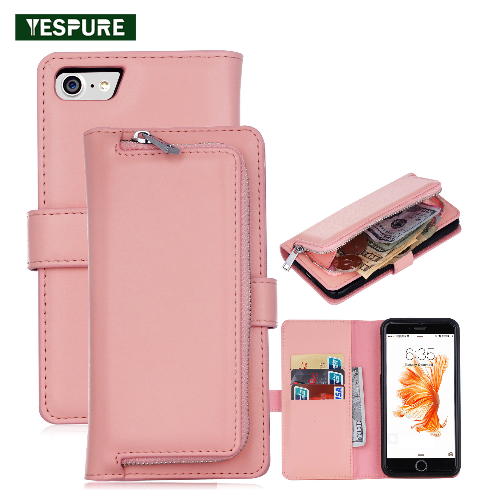 YESPURE Mobile Phone Covers Leather Phone Wallet Pink <font><b>Coque</b></font> for <font><b>Iphone</b></font> 6 <font><b>Fille</b></font> Carcasas Fundas for <font><b>Iphone</b></font> <font><b>6s</b></font> Mujer Anti Gravity image