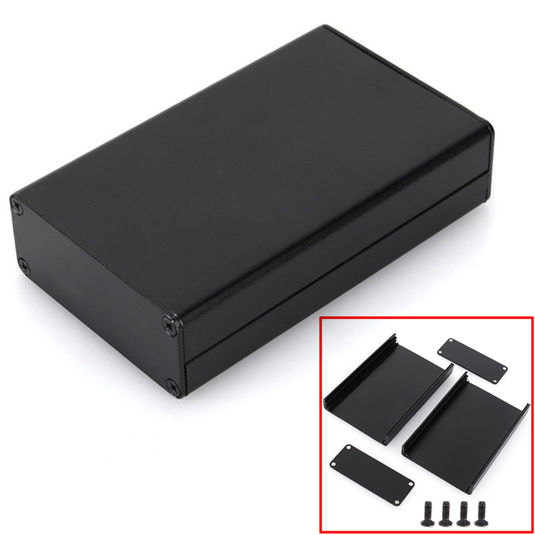 Black Extruded Aluminum Enclosure Box PCB Instrument Box DIY Electronic Project Case 80x50x20mm drdj1 aluminum 10v 1000uf electrolytic capacitor for diy project black 50 pcs