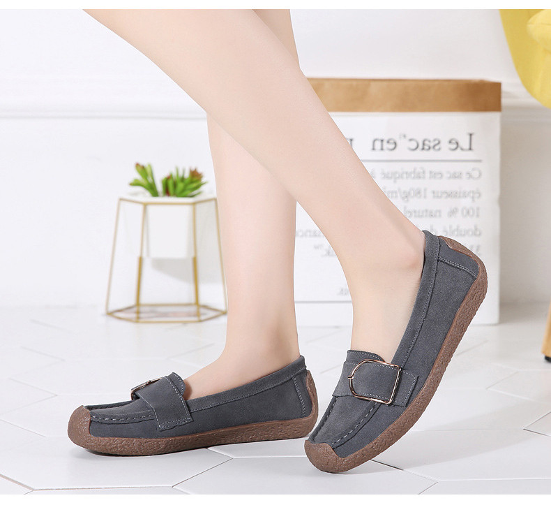 HX 7038-Spring Autumn Cow Suede Leather Women Flats-7