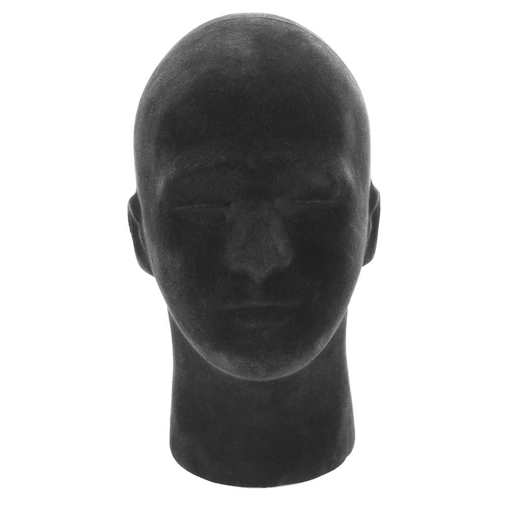 1pc Mannequin Foam Head Model Male Black Wig Making Styling Hat Glasses Headphones Display Stand Male Black Foam Head Model