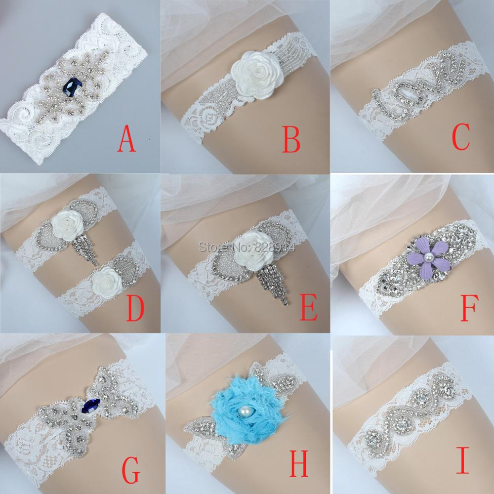 Crystal Wedding Garter: Luxury Crystal Applique Lace Wedding Garter Belt Bridal