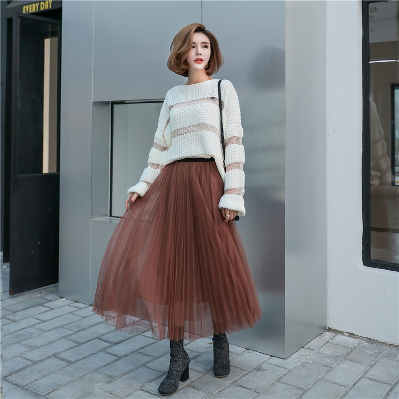 30b90321ce Tulle Skirts Women Long Pleated Skirts Autumn Winter Fashion Maxi Skirt-in  Skirts from Women's Clothing on Aliexpress.com | Alibaba Group
