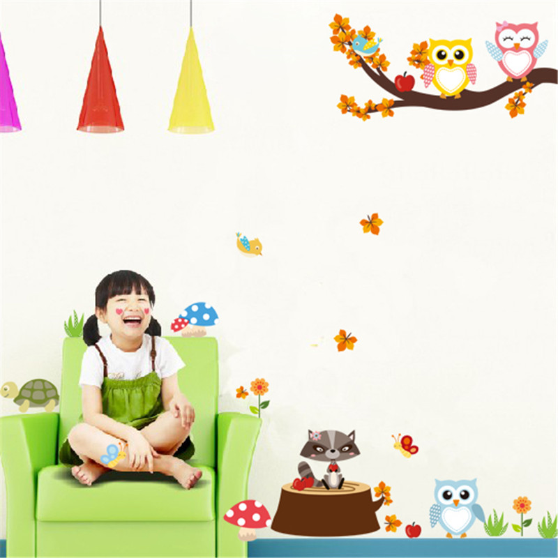 HTB1yDInPpXXXXaAXpXXq6xXFXXXG - Jungle Forest Tree Animal Owl Monkey Bear Deer Wall Stickers For Kids Room