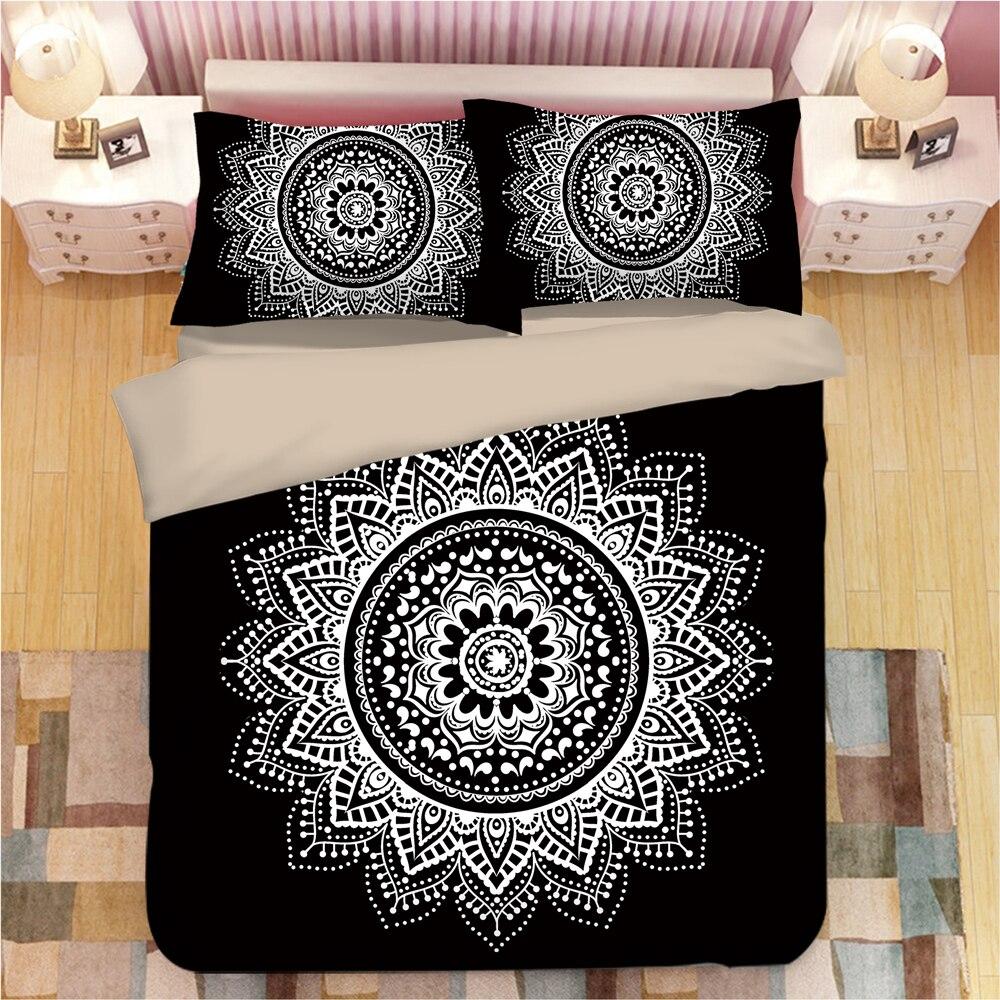 3D Mandala Bedding Sets Black Duvet Cover With Pillowcases Flower  Single Double Queen King Bedclothes Bohemian 3pcs Bedspreads