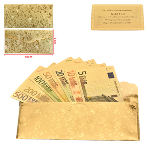 WR New Arrive Set of Metal Color Gold Plated EURO BANKNOTES 7pcs 5, 10, 20, 50, 100, 200, 500 Euro,Commemorate Gold Banknote