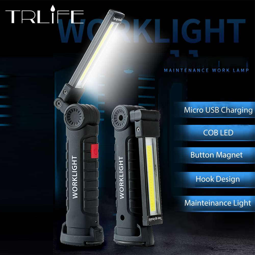 COB LED Rechargeable Work Light USB Hand Torch Inspection Magnetic Lamp Dimmable