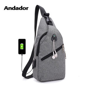 Fashion casual men chest pack single shoulder bags USB charging chest bag  crossbody bags male anti theft single strap back bag 7c9fd93043282