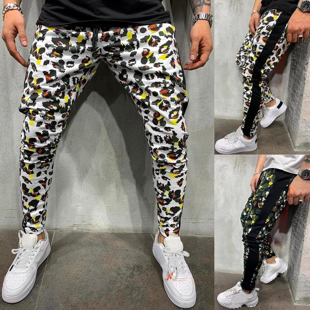 Fashion Men Casual Camouflage Print Drawstring Elastic Waist Long Pant Trousers 2019 Men Clothes Denim Pants Distressed Leopard