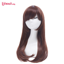 L email wig Game OW D.Va and Mercy Cosplay Wigs Color Brown Beige Heat Resistant Synthetic Hair Perucas Women Cosplay Wig