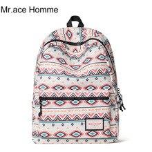 Mr. Ace Homme College School Students Bag Printing Leisure Travel Backpacks Fashion Female Laptop Rucksack