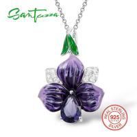 925 Sterling Silver Cubic Zirconia Purple Enamel Flower Pendanrt HANDMADE