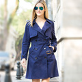 Veri Gude Women's Long Trench Coat Double Breasted Cotton Coat