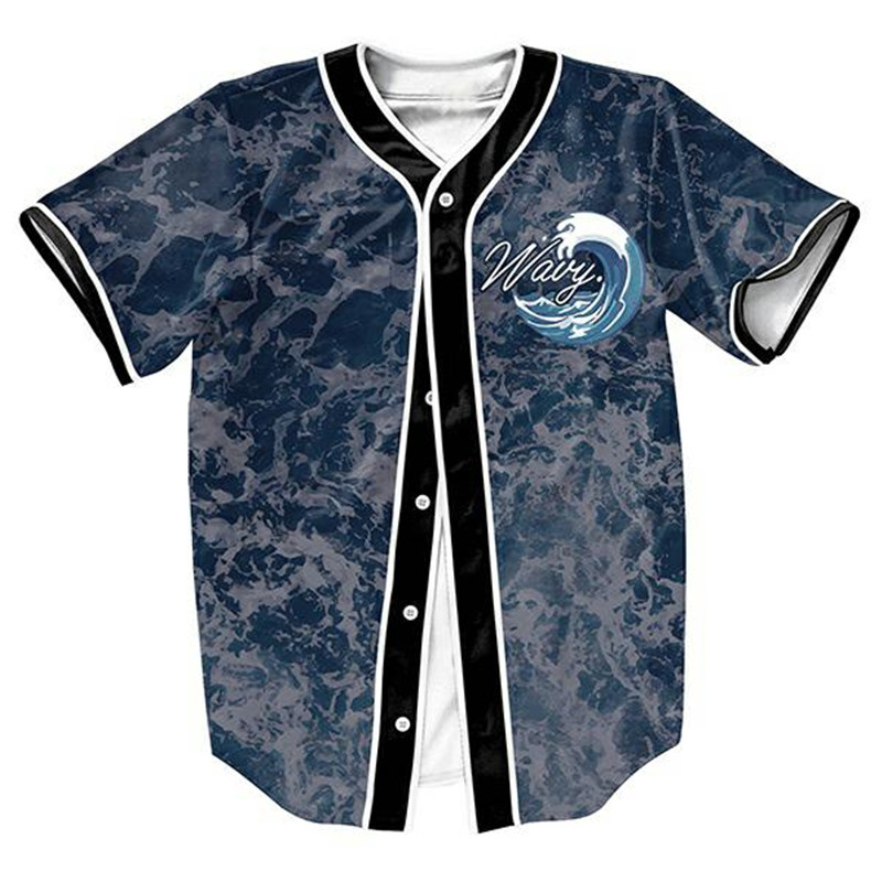 Wavy jersey overshirt baseball shirts punk tops sweat for How to not sweat through dress shirts